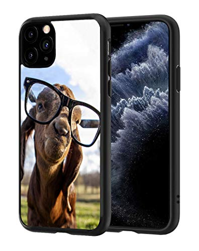 ChaTham iPhone 11 Case, Premium TPU Slim Anti-Scratch Rubber Protective Case Cover for iPhone 11 (2019) 6.1 inch - Goat with Glasses