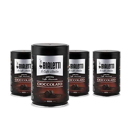 Bialetti Caffè Macinato, Gusto Cioccolato - 4 x 250 gr