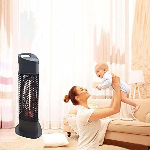 Calentador de patio eléctrico al aire libre, calentador de pie eléctrico de 1200 W, súper silencioso y cálido instantáneo, calentador de espacio, para jardín, garaje, patio trasero, dormitorio