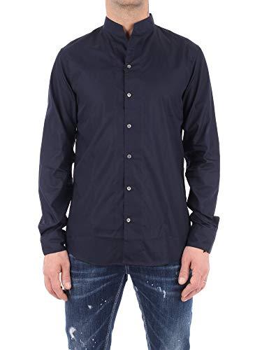 Emporio Armani Hemd mit Kragen und Band in weiß aus Baumwolle Modell mit Kragen und Knopfleiste vorne, lange Ärmel und Manschetten mit Knöpfen., Blau 36