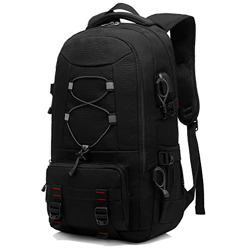 Besttravel Reiserucksack, 45 l, Wanderrucksack, wasserdicht, große Kapazität, Laptop-Rucksack, 17,3 Zoll, Trekking-Rucksack, Herren und Damen, für Sport, Camping, Outdoor, Camping, Schwarz