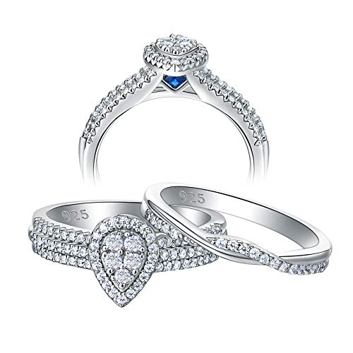 Newshe Pear Engagement Rings for Women 925 Sterling Silver Wedding Band Set 1.2Ct Round Cz Size 5