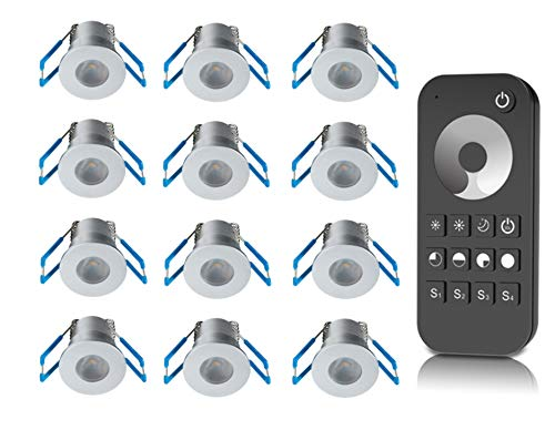 LEDUX 1W LED Mini Einbaustrahler, Aluminium, IP65 Wassergeschützt, 3000K Warmweiß, Dimmbar, Mini-Einbauleuchten für Innen- und Außen, ideal für Terrassendach, Bad, Carport (Silber, 12er-Set)