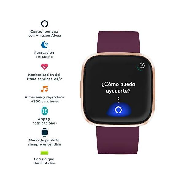 Fitbit Versa 2, Smartwatch con control por voz, puntuación del sueño y música, batería de +4 días 2
