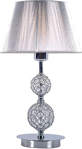 DIRECTLIGHTING Lámpara de Mesita de Noche. Ideal para Dar Luz Ambiente a tu Dormitorio o como Lámpara de Mesa. Estilo Vintage con Pantalla de Hilo y Cristal en el...