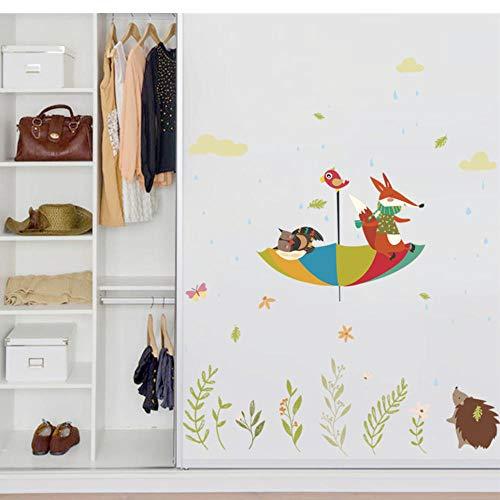 JHLP schattige uil vos vogel paraplu in de regen muurtattoos voor kinderkamer wooncultuur cartoon dieren sticker PVC muurkunst DIY poster 60x90cm