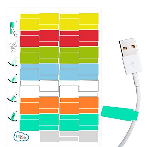 Etiquetas cables eléctricos 8 Colores. Etiqueta impermeable identificación de cable. 30 Pegatinas adhesivas.