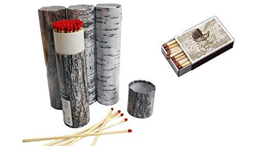 Schnäppchenladen24 4 x 75er Rund-Packungen XXL Kaminstreichhölzer, 20cm, Verpackung im Baumrindendesign + 1 x Schachtel Nostalgie Streichhölzer Zündhölzer