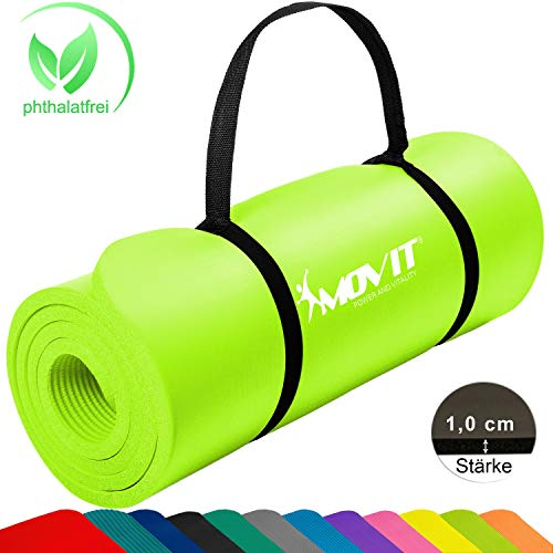 Movit Pilates Gymnastikmatte, Yogamatte, phthalatfrei, SGS geprüft, 183 x 60 x 1,0cm, Yoga Matte in Limette