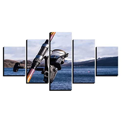 JIUZI-Cinq Affiches De Peinture À l'huile en Deux Tailles-Go Fishing Peintures Canne À Pêche Seascape-Moderne Peinture À La Maison Toile Décorative Œuvres Murales d'art