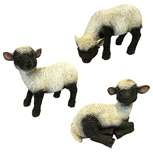OF Gartenfiguren Lamm, Lämmer - Dekofiguren Schafe für außen zum Bepflanzen - Wetterfest (3er Set Lämmer)