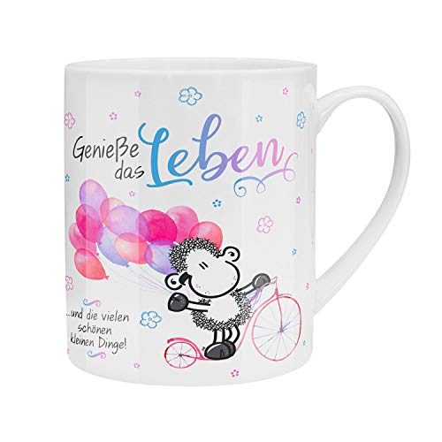 Sheepworld 46205 Riesentasse mit Spruch Genieße das Leben, mit Geschenk-Verpackung, Porzellan, 60 cl Tasse