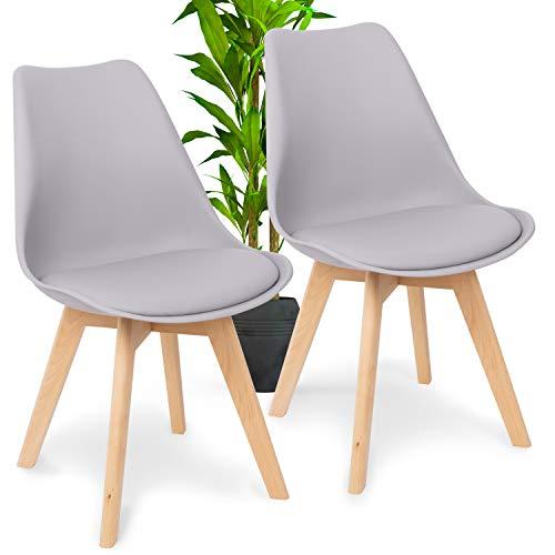 WONEA - 2er Set Esszimmerstuhl Stuhl mit Rückenlehne, Küchenstuhl mit Kunstledersitzkissen, Esstischstuhl leicht zu reinigen mit Massivholz Gestell, Tulpenstuhl...