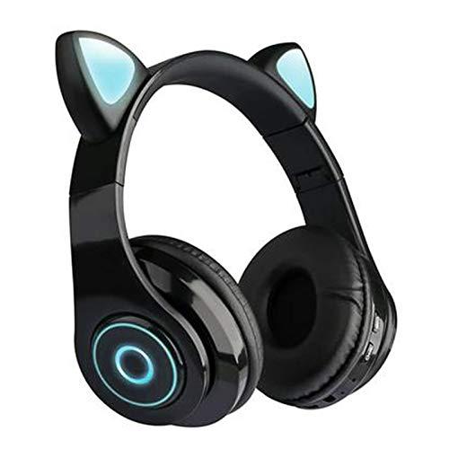 HUAHU Auriculares inalámbricos con orejas de gato para niños, Bluetooth, auriculares estéreo inalámbricos con cancelación de ruido, con micrófono y luz LED, para niños