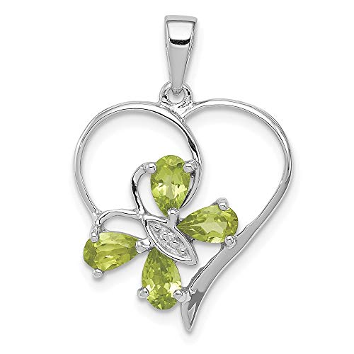 925 Sterling Silver Green Peridot Diamond Butterfly Heart Pendant Charm Necklace Birthstone August Love Gemstone Qdx Fine Jewelry For Women Gifts For Her