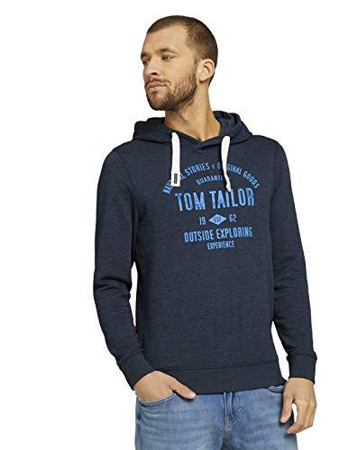 TOM TAILOR Herren 1020918 Print Hoodie Sweatshirt, 19024-Sky Captain Blue White Melangé, XXL