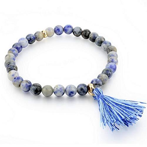 NA HQXIZ armband natuursteen kralen armband, elastische touw bedeltje kwastje armband trendy vrouw mannen sieraden