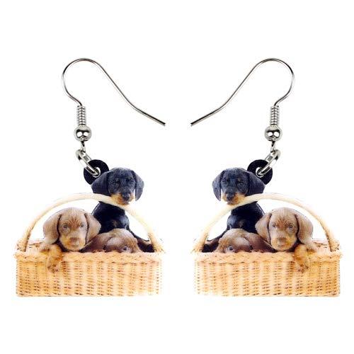 Dames Oorbellen Acryl Mand Van Teckel Hond Oorbellen Bengelen Drop Cute Cartoon Animal Jewelry