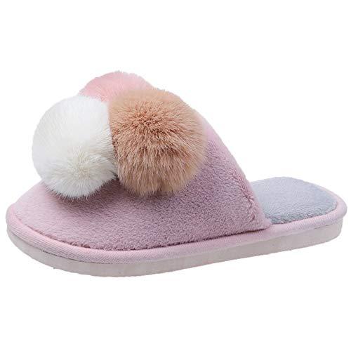 DAIFINEY Damen Hausschuhe Haarball schön Bequem Pantoffeln Kuschelige Home Indoor Outdoor Slippers Freizeit rutschfeste(1-Pink/Pink,36)