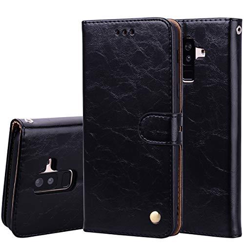 Nadoli Leder Hülle für Samsung Galaxy A8 Plus 2018,Retro Ölwachs Premium Pu Leder Magnetverschluß Ständer Klapptasche Kartenfäche Flip Schutzhülle Tasche Brieftasche