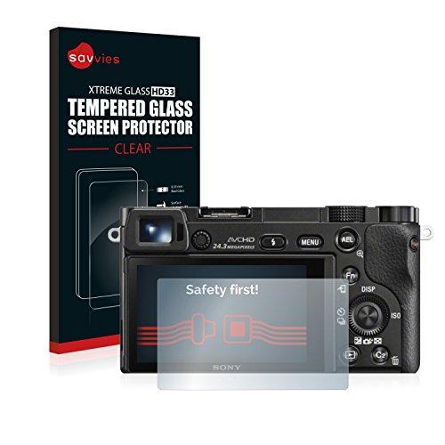 Savvies Panzerglas kompatibel mit Sony Alpha 5000/6000 - Echt-Glas, 9H Härte, Anti-Fingerprint