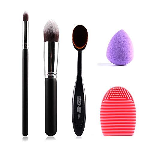 5pcs / set pinceaux de maquillage professionnel ensemble avec brosse à poudre\