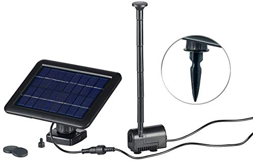 Royal Gardineer Solarpumpe: Teich- und Springbrunnen-Pumpe mit 2-Watt-Solarpanel und Akkubetrieb (Solarbetriebene Springbrunnenpumpe)