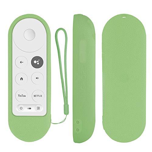 Custodia protettiva in silicone per Chromecast con telecomando vocale Google TV 2020, protezione per telecomando vocale Chromecast 2020, custodia antiurto con passante che si illumina in verde scuro