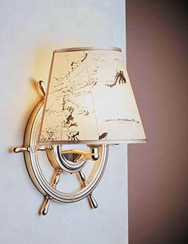 Maritime Lampe VELIERO aus Messing Papier Steuerrad Seekarte Wandleuchte Treppenhaus Schlafzimmer