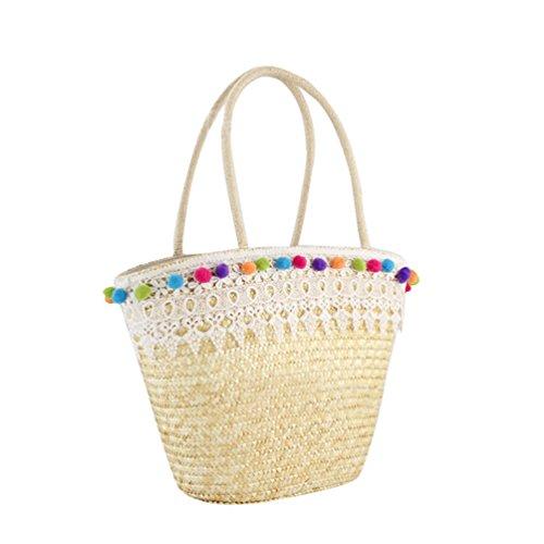 YOUJIA Damen Strandtaschen mit Spitzen-Quasten Stroh Gewebte Casual Elegant Sommer Einkaufen Totes Urlaub Handtaschens (Weißer Spitze, Eine Größe)