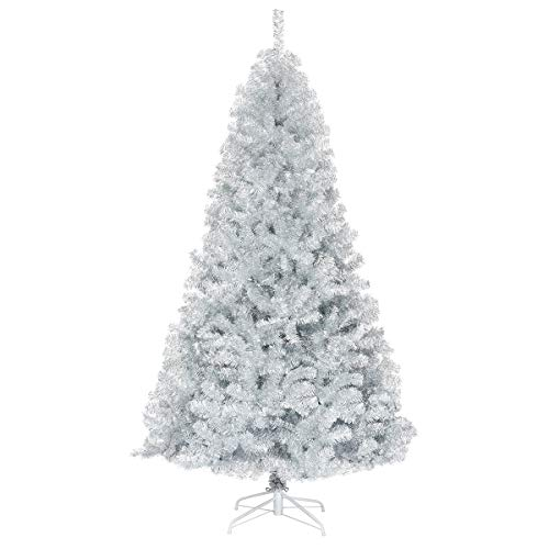 GOFLAME 7.5 FT Artificial Christmas Tree Hinged with 1258 Branch Tips, Silver Tinsel Christmas Tree with Metal Stand, Electroplated Technology for Indoor and Outdoor Holiday Decoration