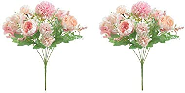 Tutuziyyy Artificial Flowers 7 Branches Silk Fake Peony Flowers Leaf Hydrangea Wedding Floral Decor Bouquet,Pack of 2 (Pink)