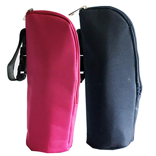 Rolin Roly 2 Pack Bottle Cooler Bag Baby Bottle Organizer with Strap Baby Thermal Insulated Bags Portable Multipurpose Breastmilk Tote 8 x 8 x 24cm (Rose red + Black)