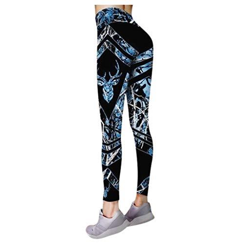 Andouy Damen Mode Gedruckte Yoga Leggings Yoga Capris Lang Hosen Kompression Sport Trainingshose(3XL.Blau-1)