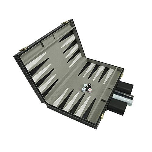 Tongdejing Backgammon-Set für Unterhaltung, faltbar, PU-Leder, Schachbrettbox, magnetisch, für Reisen, Erwachsene, Kinder