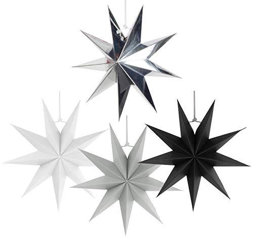 Sweelov 4er Set Faltsterne 30cm Papier Stern 9 Zacken Weihnachtsstern für Weihnachtsbaum Dekoration, Weiß Grau Schwarz Sliber