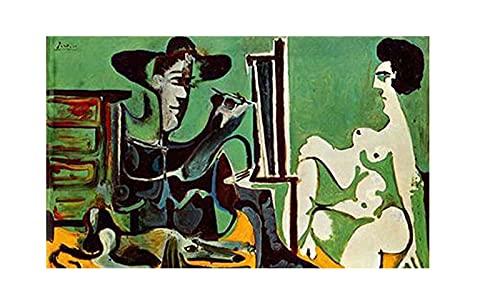 Pintor y su modelo de Pablo Picasso Cuadro Decoración Pared Cuadros Famoso Para Dormitorios Modernos Lienzo Cuadros Decorativos Decoracion de Salones (70x115cm28x45inch, sin marco)
