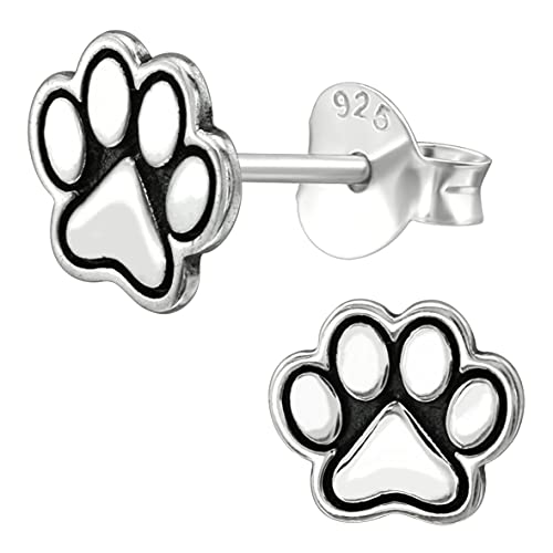 miimago Pendientes infantiles de huellas de perro, plata de ley 925, regalo de joyería