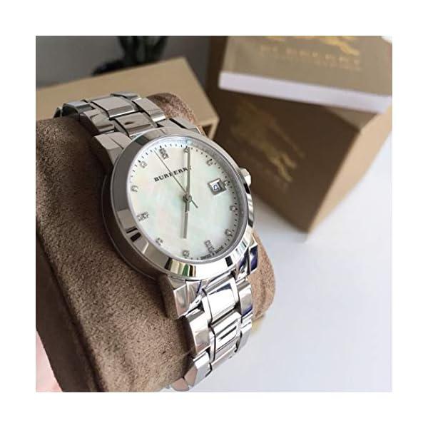 Swiss Rare Diamonds Silver MotherPearl Date Dial 34mm Women Stainless Steel Wrist Watch The City BU9125