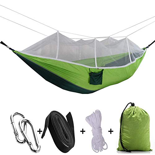 Akihi Hammock Camping Tent, Hammock with Mosquito Net, Portable Parachute Nylon Double Hammock Tents, Lightweight and Durable 210T Nylon, for Outdoor Hiking Backpacking Travel