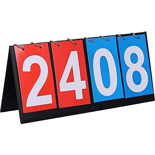 Tabellone Sportivo, Tabellone Segnapunti Portatile, Tabellone Segnapunti Flip, Flipper Tabellone Segnapunti Tavolo, Segnapunti Sportivo Multifunzionale a 4 Cifre, per Gare Basket, Calcio e Baseball