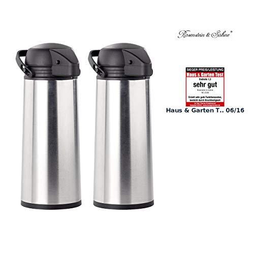 Rosenstein & Söhne Thermokanne: 2er Pack Edelstahl-Pump-Vakuum-Isolierkanne, 1,9 Liter (Kanne)