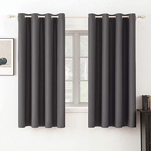 MIULEE Blackout Curtains Room Darkening Thermal Insulated Drapes Solid Window Treatment Set Grommet Top Light Blocking Curtain for Living Room / Bedroom 2 Panels 52 x 63 inch Grey