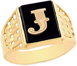 10k Yellow Gold Bold Black Onyx Mens Elegant Basket Weave Initial Letter J Ring