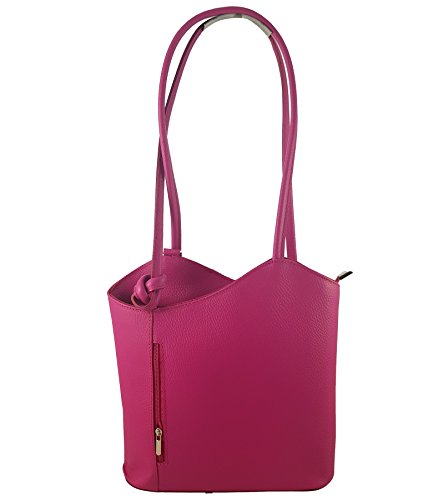 Freyday 2 in 1 Handtasche Rucksack Designer Luxus Henkeltasche aus Echtleder in versch. Designs (Glattleder Pink)