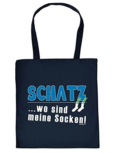 Stofftasche - Schatz - Wo sind meine Socken? - lustig bedruckte Umhängetasche für Leute mit Humor - Baumwolltasche Tragetasche mit witzigem Spruch