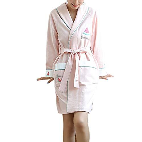 Albornoz de algodón de secado rápido para mujer, bata de baño cálida para casa, spa con bolsillos, color rosa, tamaño: grande