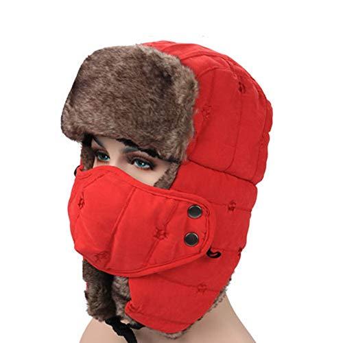 YCKZZR Bomber Hut Unisex Wintermütze Winterkappe Arctic Ursa aus Synthetik-Pelz mit Ohren- und Nackenwärmer,Rot
