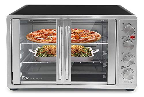 "Elite Gourmet ETO-4510M Double French Door Countertop Convection Toaster Oven, Bake Broil Toast Rotisserie Keep Warm 12""-14"" pizza 2 Racks, 18-Slice, 45 L, Stainless Steel & Black"
