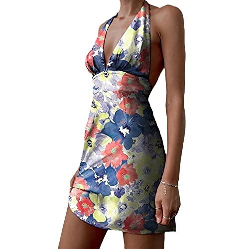 FUNWAVE Vestido de mujer halter floral mini sin mangas sexy cuello en V sin espalda Y2k Bodycon vestido corto A-Line Swing vestido verano Sundress